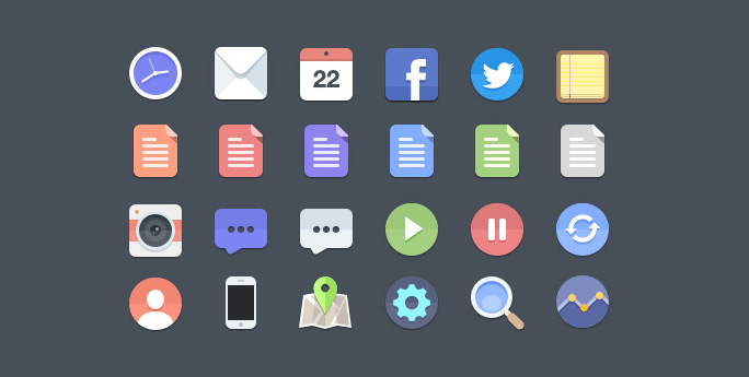 Набор из 24 иконок для сайта (PSD)