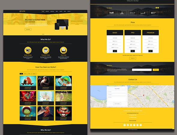 Pluton - бесплатный одностраничный шаблон на Bootstrap HTML5