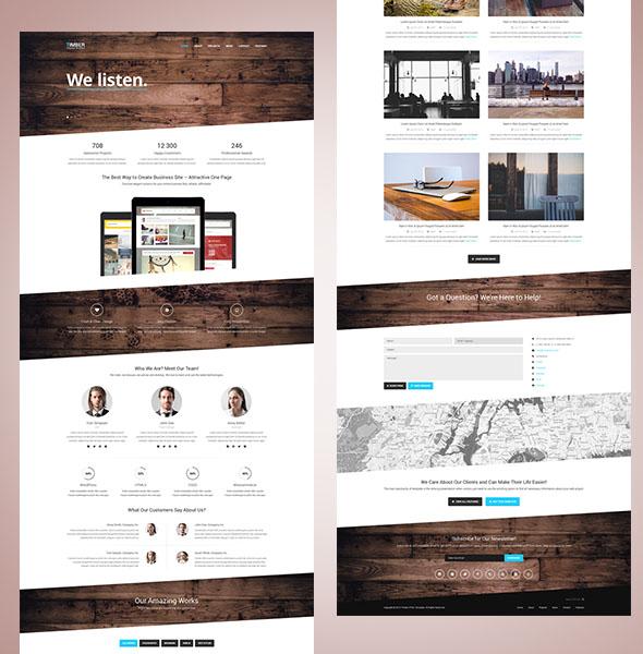 Timber – одностраничный шаблон на Bootstrap