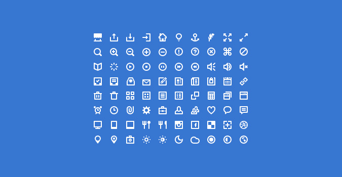80 мини-иконок для сайта (PSD + шрифт)