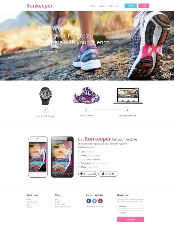 Runkeeper - шаблон сайта мобильного приложения