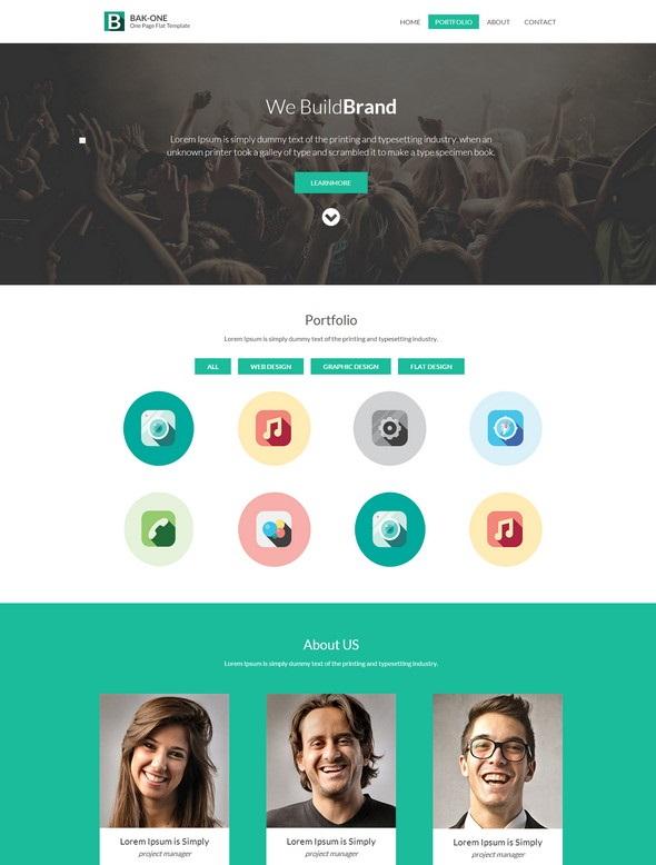 Bak One - одностраничный адаптивный шаблон сайта
