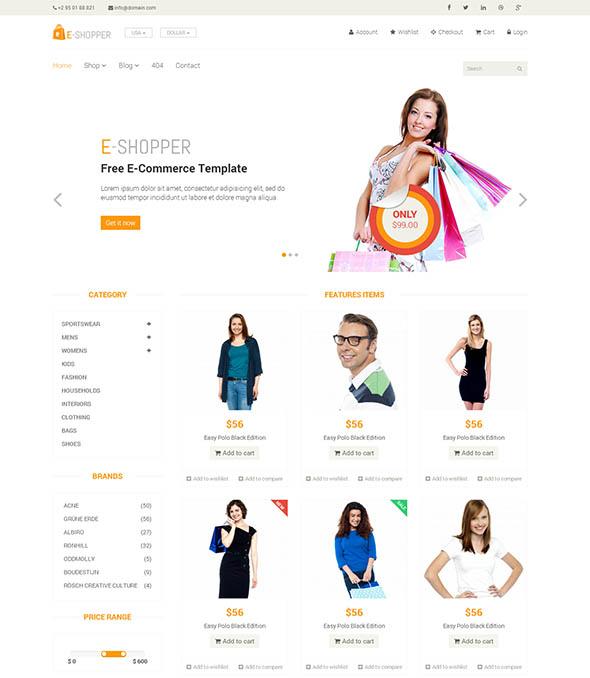 E-Shopper - бесплатный шаблон для интернет-магазина
